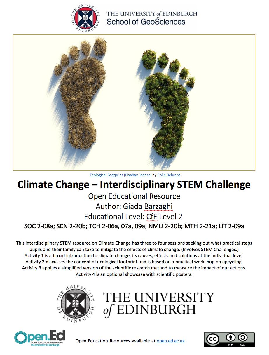 Climate Change – Interdisciplinary STEM Challenge (University of Edinburgh – open.ed)